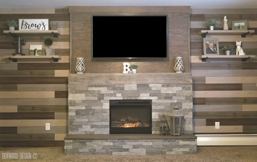Faux Fireplace and Accent Wall